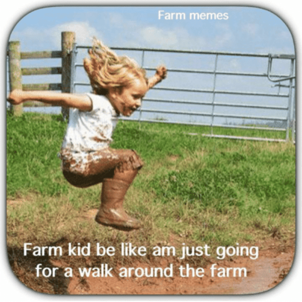 Farm Kid Be Like Am Just Going for a Walk Around the Farm - Farming Memes - Girl Jumping in a Mud Puddle Image