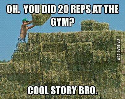 Oh You Did 20 Reps at the Gym, Cool Story Bro - Farming Memes - Guy Throwing a Hay Bale Image